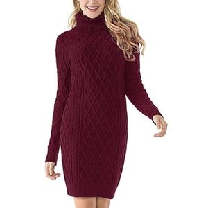 Turtleneck Sweater Dress Cable Knit Long Sleeve